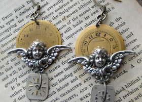 Steampunk Earrings VICTORIAN angel CHERUBS vintage watch parts antique brass clock