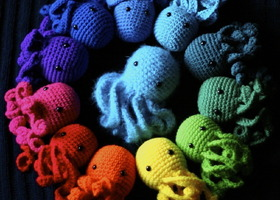 Two Octopus Amigurumi Plushes (Crocheted Stuffed Animals) in the colors of your choice!