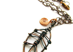Copper Leaf and Coil Necklace with Vertigris Patina