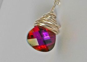 Genuine Beautiful Swarovski Crystal Rose Volcano 15mm Faceted Briolette Wire Wrapped with Silver Plated German Wire on 18in Silver Plated Chain - Pinks, Shades of Red and Purples!