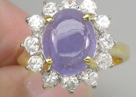 Stunning Natural Cab Tanzanite and White Zircon Ring 14k Yellow Gold Vermeil
