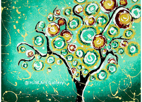 Turquoise Tree of Life Whimsical Giclee Art Print