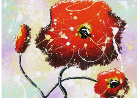 Red Poppy Original Whimsical Painting