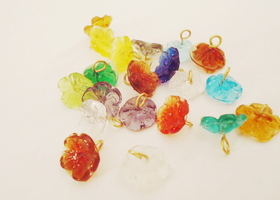 Glass Flower Drop Charms