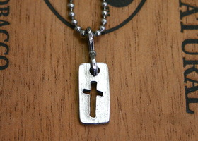 Pewter cross charm necklace