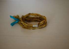 raw silk wrap bracelet-mustard