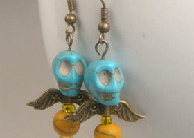 Sugar Skull Angel Earrings, Turquoise and Yellow Howlite, antiqued brass