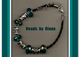 7.5 inch BLACK BRAIDED .925 AB TEAL FACETED BRACELET W EXTENDER