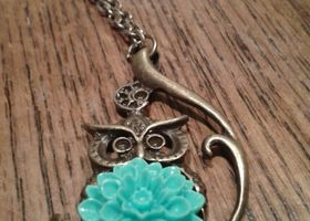 Give a Hoot, Antiqued brass Owl pendant necklace