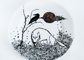 Wolf Hand Painted Plate Full Moon Rising