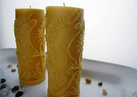 Woodland Fern Beeswax Pillar Candles