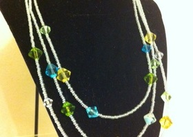 Blue and Green Spring Bloom Necklace and Earring Set