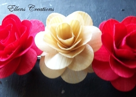 Scented Wood Rose Hair Barrette, Handmade