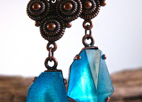 Neon Blue Bronze Earrings