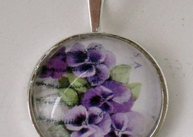 2010 Purple Pansy Love Postage Stamp Silver Plated Pendant Necklace
