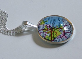 Custom Map Pendant Silver Plated Glass 1 inch Round