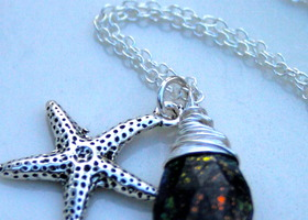 Mystic/AB Labradorite Starfish  Sterling Silver Necklace