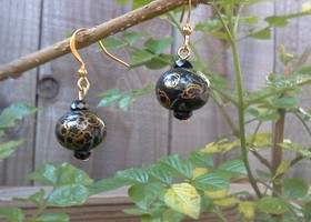 Porcelain Hand painted black/gold earrings