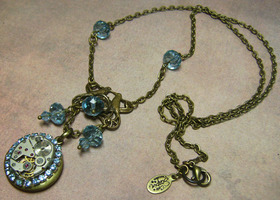 Lovebirds Secret Locket- Baby Blue Swarovski Steampunk Art Necklace