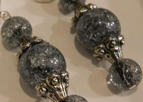 GREY/SILVER CRACKLE ROUNDS TOGETHER WITH SILVER CAPS AND RONDELLES ON LEVERBACK EAR WIRES-BJ's
