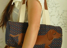 BBQ the Dachshund Vintage Navy Dobby Polka Dots Cotton Canvas Floral Duffel Tote Bag Purse with Vinyl Applique