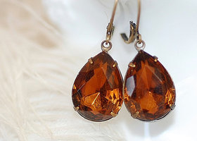 Vintage Smoke Topaz Estate Earrings