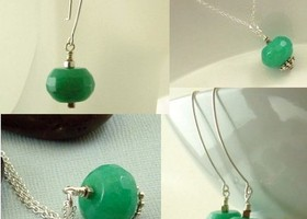 3 pcs Sea Green Jade Set earrings + pendant necklace on 18 inch sterling silver chain necklace