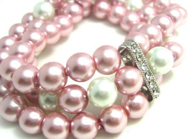 Pink and White Pearl and Rhinestone Bracelet