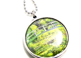 Monet Fine Art Double Sided Pendant: Water Lillies and The Walk Lady with a Parasol