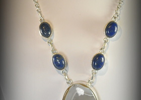 $1 Start - 174.55 carats Agate and Pyrite In Lapis Lazuli Necklace
