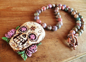 Artisan Crafted Sugar Skull Necklace