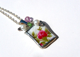 Vintage China Pendant - Johann Haviland Bavarian China- Moss Rose