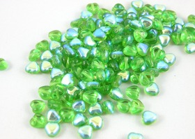 100 pcs Czech Glass Heart beads Emerald AB  6mm