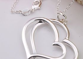 Sterling Silver Double Hearts Necklace