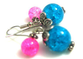 Pink and Blue Crackled Earrings
