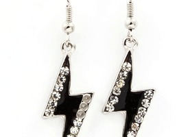bejeweled black lightning bolt earrings