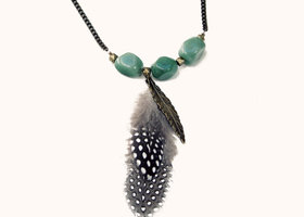 Finding Feathers Necklace in Green
