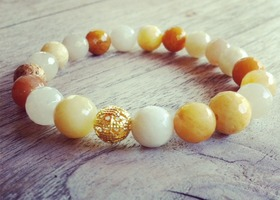 Mala Bracelet Natural Honey Jade Gemstone Beads