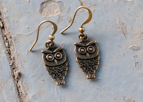 Bronze Owl Dangles