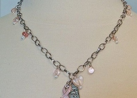 Pink Ribbon Charm Necklace