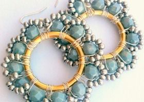 Pale Blue Wire Wire Hoop Earrings - Melissa