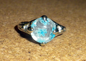 Size 7 Light Blue Millefiori Glass Ring