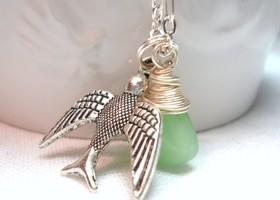 """Freedom"" Silver bird and Necklace (with Jade colored glass)"