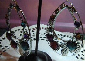 Large Gemstone Hoop Earring
