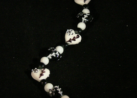 Black and White Heart Beads with Spacers