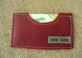 Red Leather mini wallet / business card holder / gift card holder