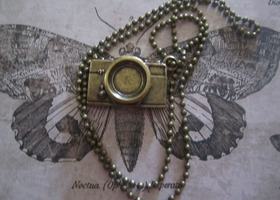 Steampunk  Large Camera Antique Bronze Pendant Charm Necklace...30mm x 20mm