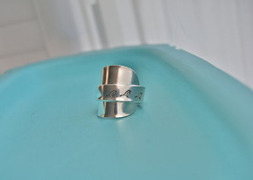Spoon ring, Three Little Birds, hand stamped, size 6- 9