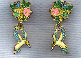 Vtg. Hummingbird Enameled Earrings