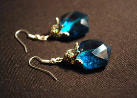 Electric Blue Octopus Earrings